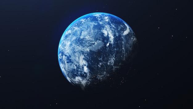 Terra nella vista dello spazio con splendente alba nello sfondo dell'universo e della galassia. natura e concetto di ambiente mondiale. scienza e globo. atmosfera del cielo di fantasia. rendering di illustrazione 3d