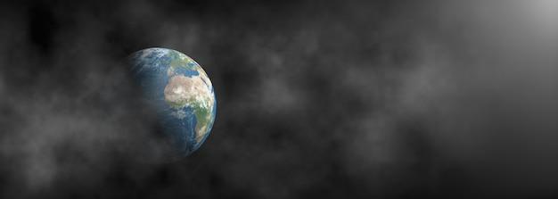 Terra circondata da fumo su sfondo scuro panoramico.