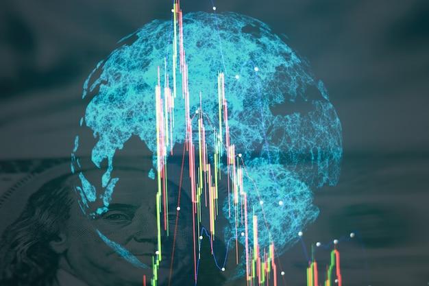 Grafico e indicatore dei prezzi tecnici della terra, grafico a candele rosso e verde sullo schermo del tema blu, volatilità del mercato, tendenza al rialzo e al ribasso. commercio di azioni, sfondo di criptovaluta.