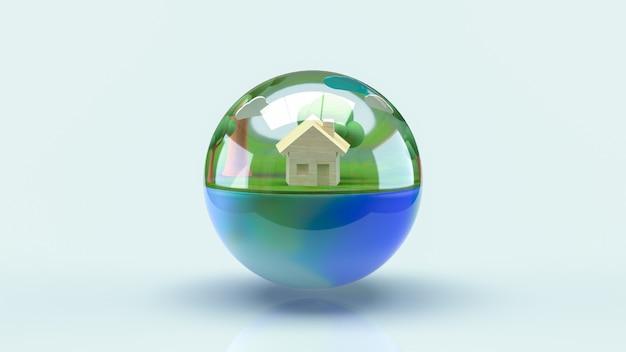 La terra in goccia d'acqua per la giornata mondiale dell'acqua o il concetto di ecologia rendering 3d.