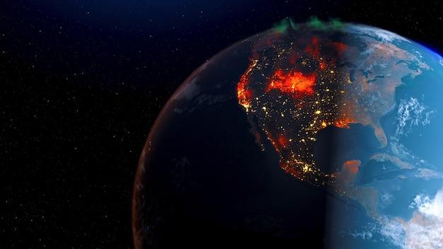 Vista dell'incendio violento della terra dal giorno di rotazione dello spazio all'orizzonte di notte.