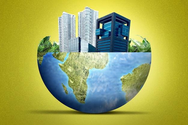 Terra con edifici moderni e grattacieli sopra di esso. concetto di ambiente