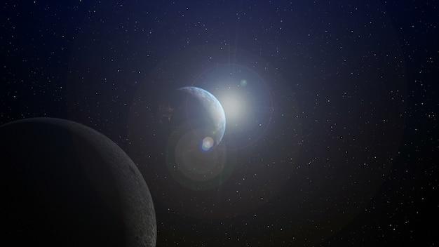 Terra con alba all'orizzonte di rendering 3d.