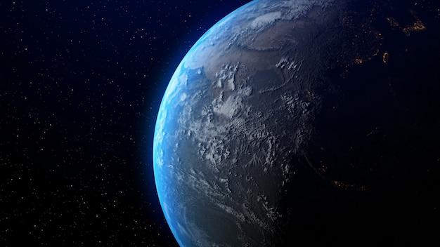 Terra con alba all'orizzonte