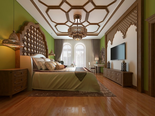 Camera da letto est, testiera in legno e pareti verdi. mobile tv, specchiera, poltrona con tavolino. rappresentazione 3d.