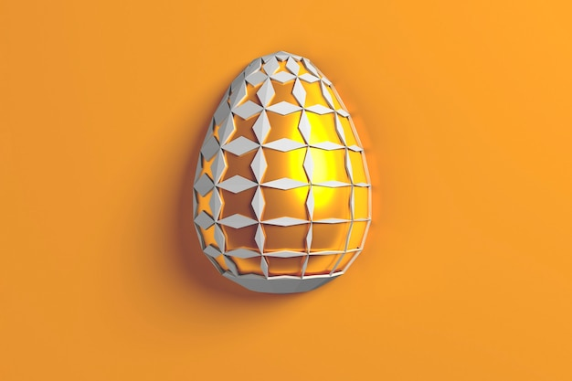Concetto di pasqua. un unico uovo bianco dorato con motivo geometrico originale mutevole