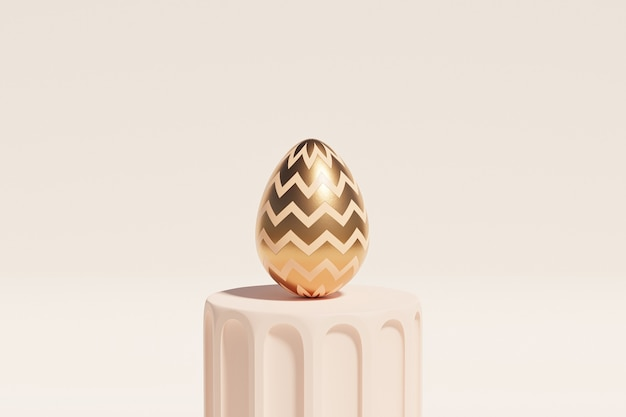 Uovo di pasqua decorato con oro sul podio beige