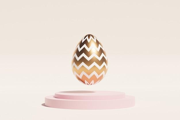 Uovo di pasqua decorato con oro levita sul podio rosa
