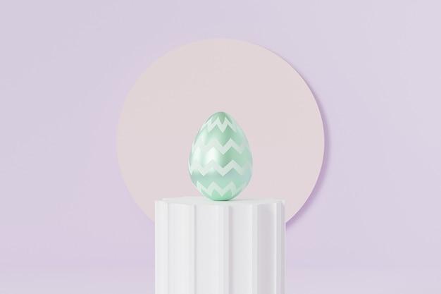 Uovo di pasqua decorato con motivo a chevron verde sul podio del pilastro bianco