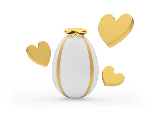 Uovo di pasqua con le icone dei cuori dorati