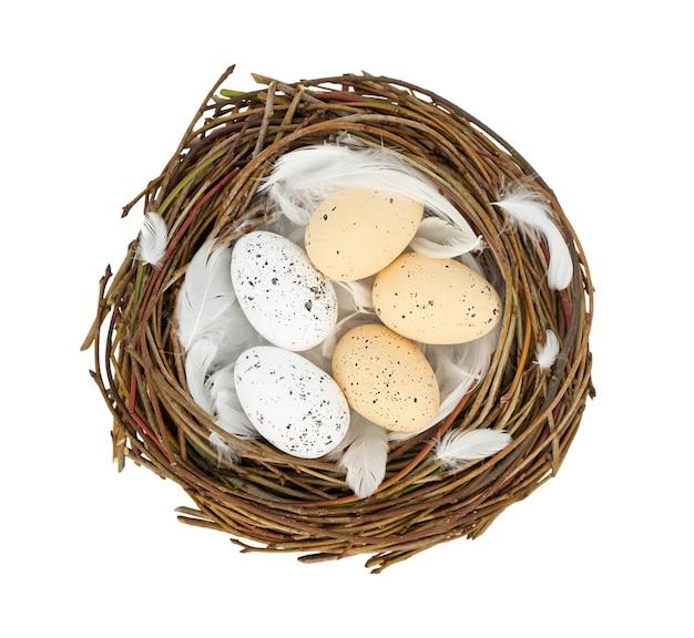 Uova di pasqua nel nido dell'uccello isolato su priorità bassa bianca
