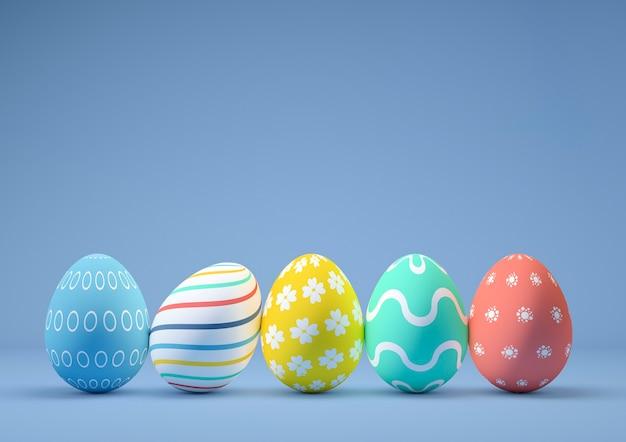 Uova di pasqua decorate con diversi colori e disegni su sfondo blu
