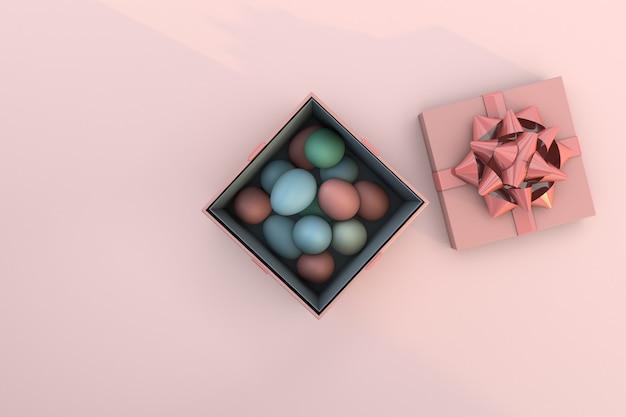 Uova di pasqua e confezione regalo. vista dall'alto con lo spazio della copia