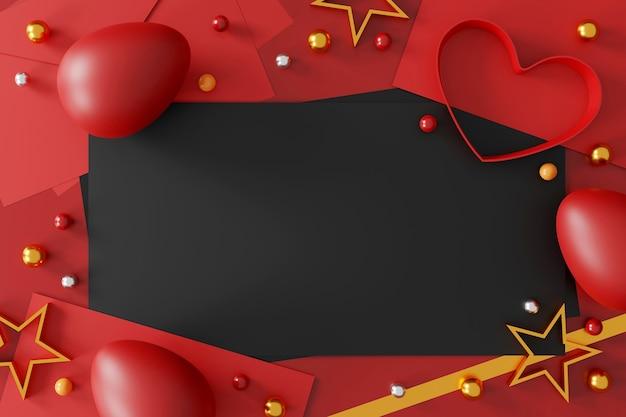 Uova di pasqua su sfondo rosso, vista dall'alto. laici piatta Foto Premium