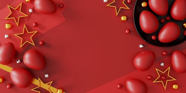 Uova di pasqua su sfondo rosso, vista dall'alto. laici piatta