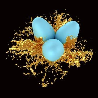 Uova di pasqua in schizzi di vernice dorata Foto Premium