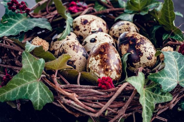 Uova di pasqua con decorazione. uova di quaglia in un nido di uccelli.