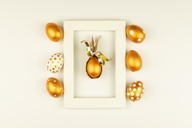 Decorazione festiva di pasqua. vista dall'alto di uova di pasqua colorate con vernice dorata vari disegni punteggiati.