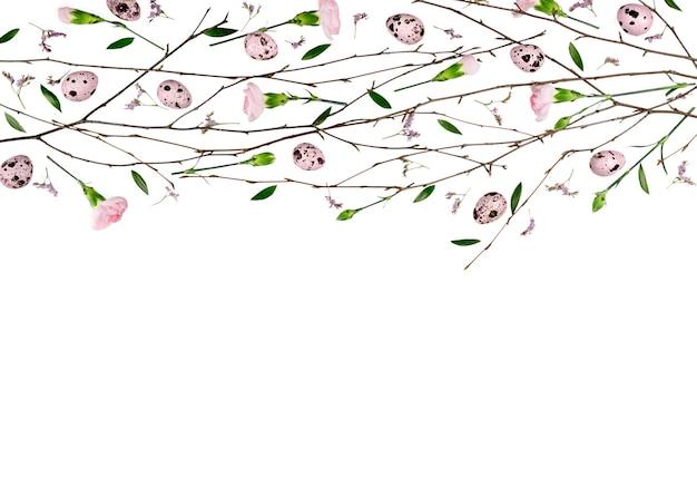 Composizione di fiori di pasqua. modello fatto di garofani laici piatta, vista dall'alto.