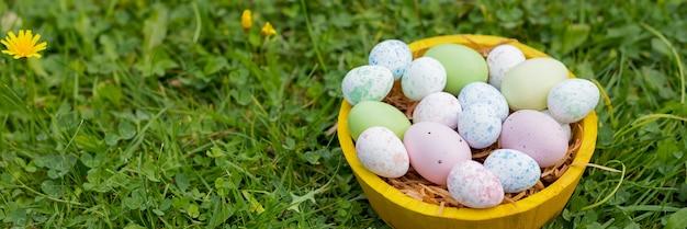 Concetto di vacanza di pasqua. decorazioni pasquali con uova dipinte luminose in erba. banner web. modello per la progettazione.