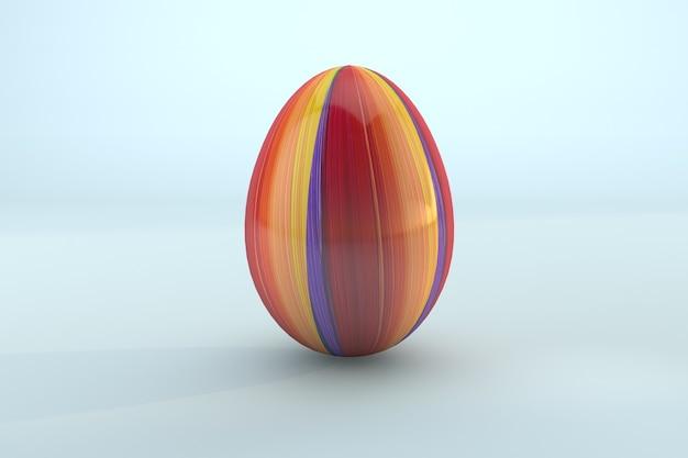 Pasqua dipingere un uovo di pasqua colorato su sfondo blu. 3d render uno sfondo trasparente di file psd