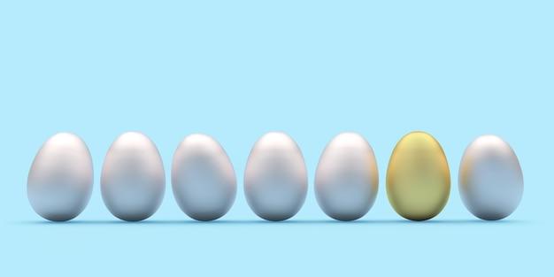 Uova di pasqua d'argento con un uovo d'oro