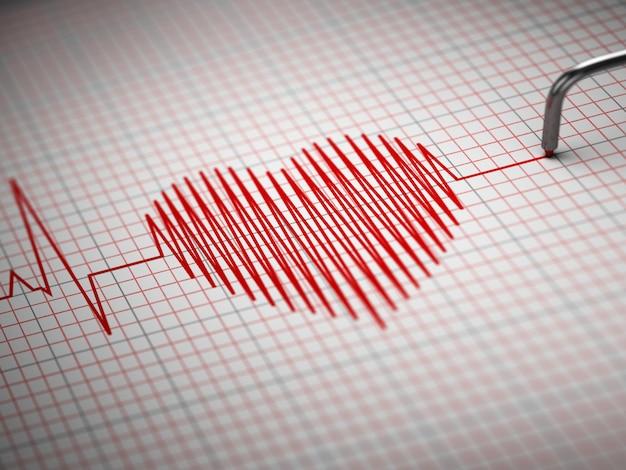 Ecg elettrocardiogramma e forma del battito cardiaco 3d