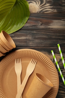 Piatti usa e getta ecologici con foglie verdi su sfondo marrone. zero sprechi, eco friendly, sfondo senza plastica.