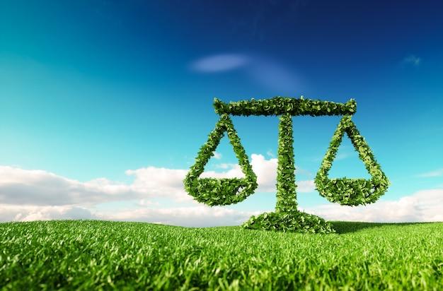 Legge ecologica, politica e concetto di equilibrio ecologico. rendering 3d dell'icona della scala sul prato primaverile fresco con cielo blu sullo sfondo.