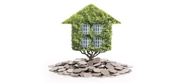 Eco casa modello verde, foglie verdi domestiche