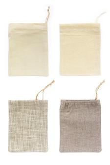 Sacche a sacco in cotone ecologico naturale, in lino, mockup
