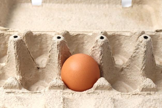 Cartone di uova di vassoio di carta eco e primo piano dell'uovo. il concetto di risorse naturali riciclabili e rifiuto della plastica.