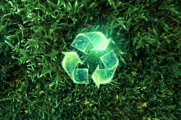 Simbolo verde di riciclaggio di eco. il concetto di terra pulita, smaltimento dei rifiuti.