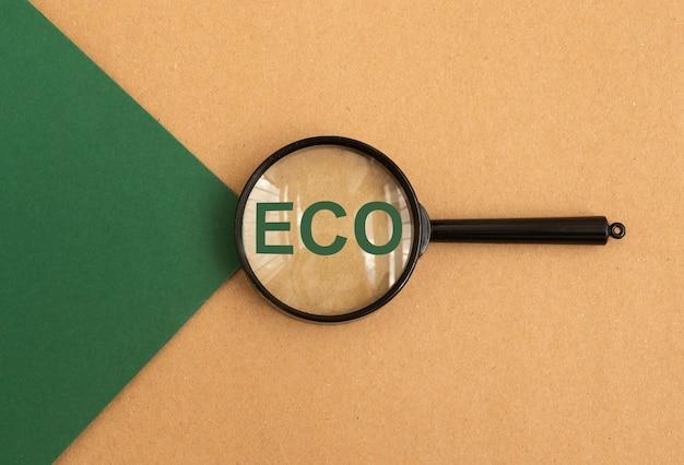 Eco parola attraverso la lente di ingrandimento su carta verde e marrone vista dall'alto concetto di studio ecologico