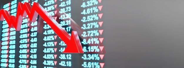 Concetto di crisi economica. diffusa nel mondo, l'economia è in calo. illustrazione 3d