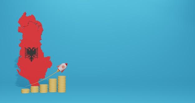 Crescita economica nel paese dell'albania per infografiche e contenuti social media in rendering 3d