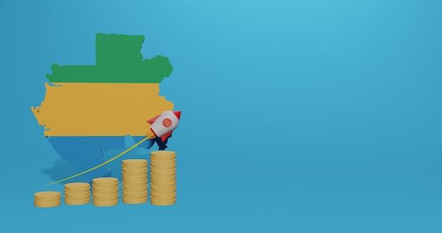 Crescita economica nel paese del gabon per infografiche e contenuti social media in rendering 3d