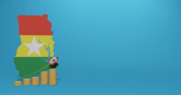 Crescita economica nel paese del ghana per infografiche e contenuti social media in rendering 3d