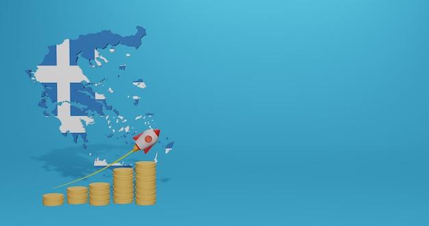 Crescita economica nel paese della grecia per infografiche e contenuti dei social media nel rendering 3d