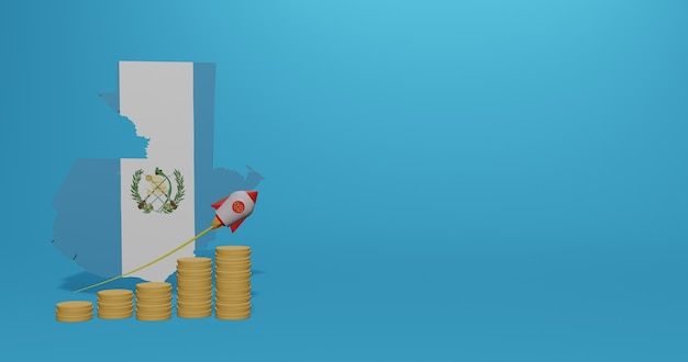 Crescita economica nel paese del guatemala per infografiche e contenuti dei social media in rendering 3d