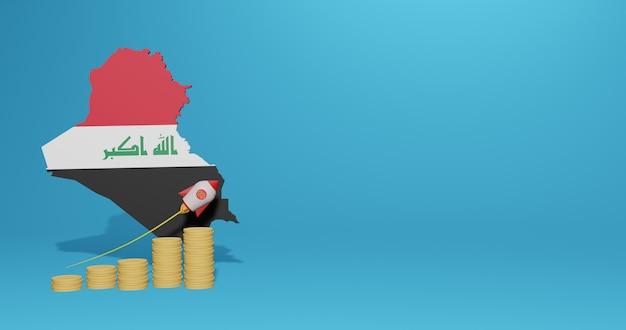 Crescita economica nel paese dell'iraq per infografiche e contenuti social media in rendering 3d