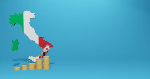 Crescita economica nel paese italia per infografiche e contenuti social media in rendering 3d