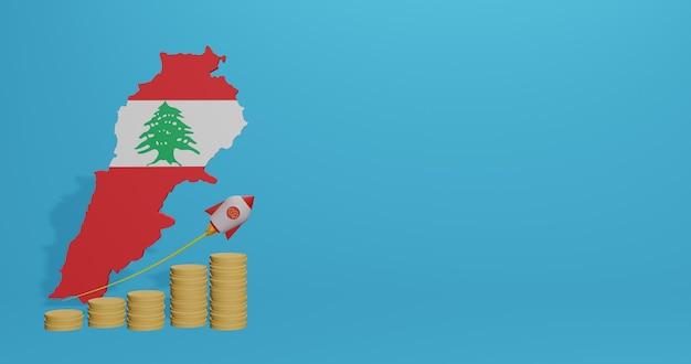 Crescita economica nel paese del libano per infografiche e contenuti social media in rendering 3d