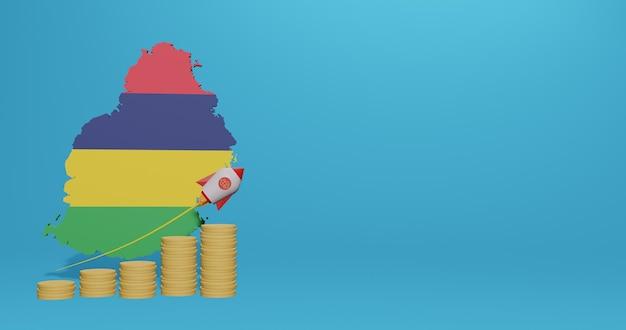 Crescita economica nel paese di mauritius per infografiche e contenuti dei social media in rendering 3d