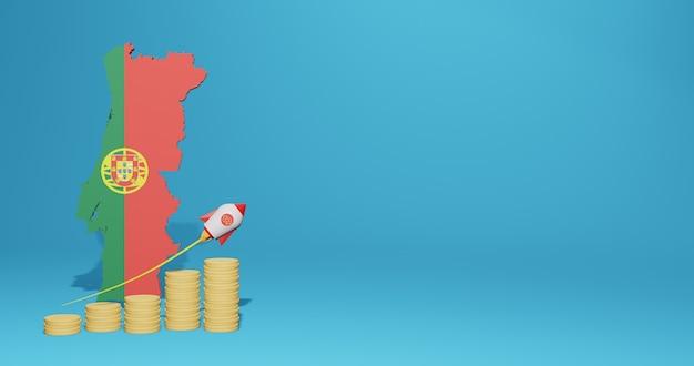 Crescita economica in portogallo per le esigenze di social media tv e sfondo del sito web, lo spazio vuoto può essere utilizzato per visualizzare dati o infografiche nel rendering 3d