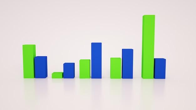 Indicatori economici, grafici di crescita, 3 illustrazioni. elementi di design grafico isolati su sfondo bianco, statistiche di indicatori economici.