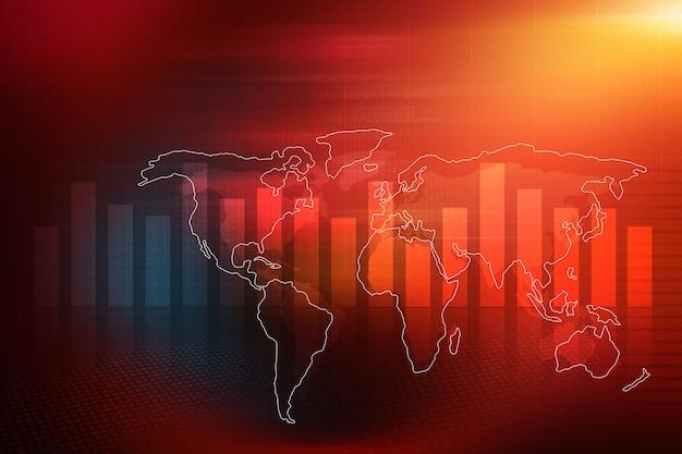Fondo rosso del tema del rapporto sul mercato azionario economico