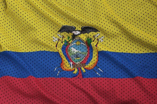 Bandiera ecuador stampata su un tessuto a rete di abbigliamento sportivo in nylon poliestere