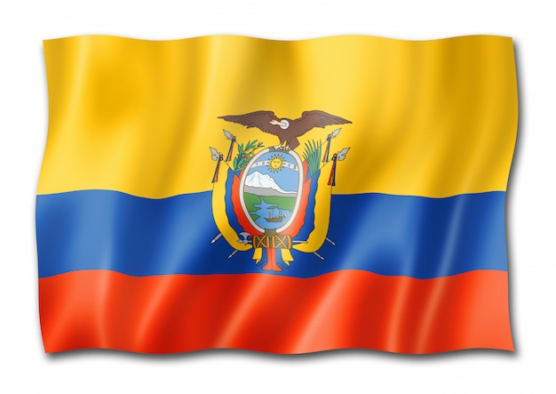 Bandiera ecuadoriana isolata su bianco