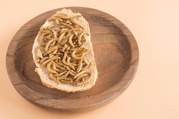 Verme commestibile con pane